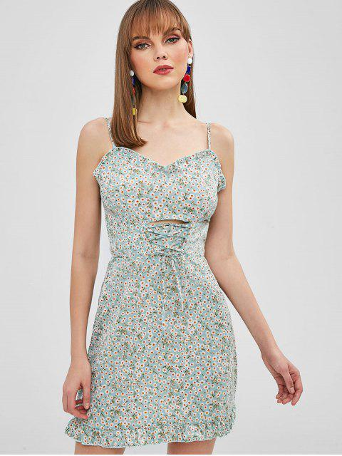 ladies ZAFUL Lace Up Tiny Floral Cami Dress - PALE BLUE LILY S Mobile