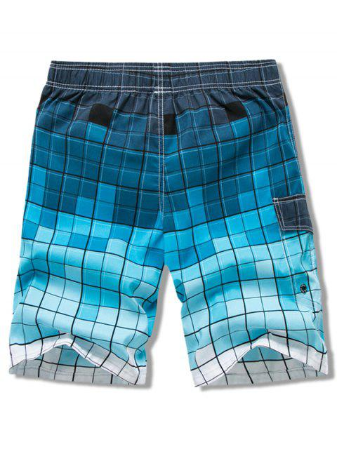 women Checkered Print Elastic Drawstring Board Shorts - BLUE XS Mobile