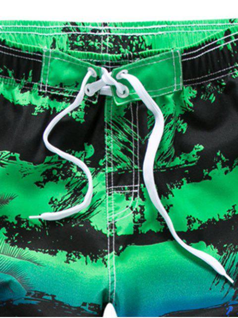 Short de Plage Arbre Peinture Imprimé à Cordon - Vert XS Mobile
