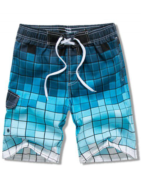 womens Checked Print Elastic Drawstring Board Shorts - BLUE 2XL Mobile
