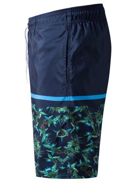 sale Plants Leaves Print Elastic Drawstring Beach Shorts - DEEP BLUE S Mobile