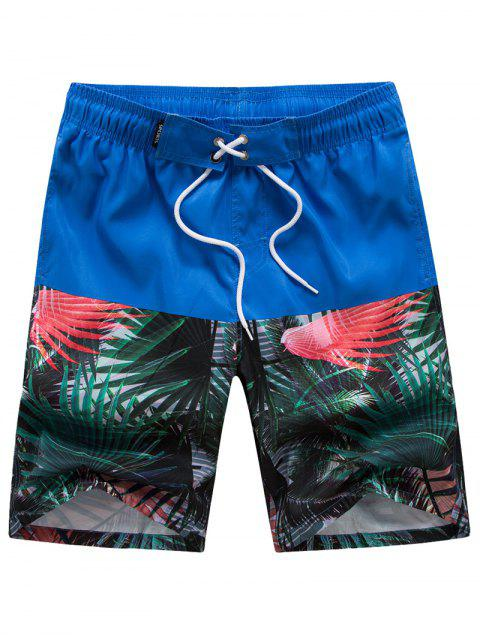 fancy Tropical Forest Printed Casual Beach Shorts - BLUE 2XL Mobile