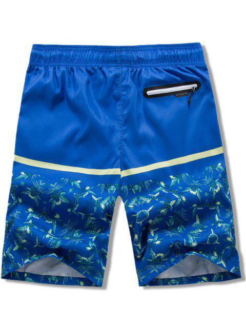 Plantas Hojas Estampado Elástico Cordón Pantalones cortos de playa - Azul 2XL Mobile