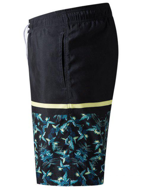 trendy Plants Leaves Print Elastic Drawstring Beach Shorts - BLACK M Mobile