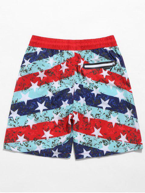 unique American Flag Eagle Print Drawstring Beach Shorts - RED L Mobile