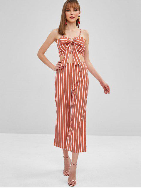 outfit ZAFUL Striped Top Wide Leg Pants Two Piece Set - MULTI S Mobile
