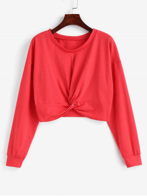 womens Drop Shoulder Twist Cropped Top - BEAN RED ONE SIZE Mobile