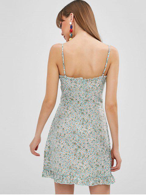 ZAFUL Robe Fleurie à Bretelle à Lacets - Bleu Lys Pâle S Mobile