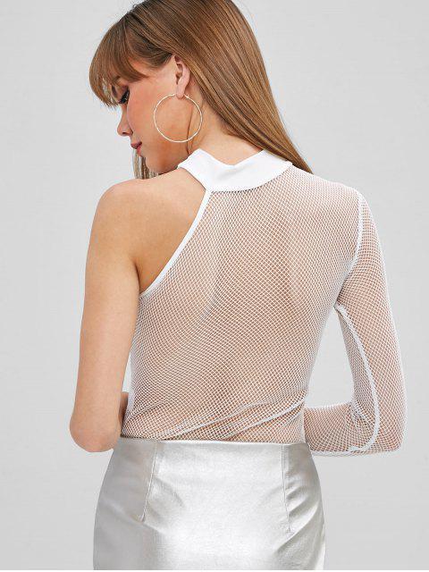 Body Combinaison en Maille Transparente à Une Epaule - Blanc S Mobile