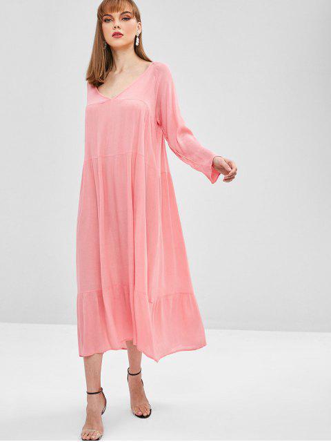 women Low Cut Long Sleeve Maxi Dress - PINK L Mobile