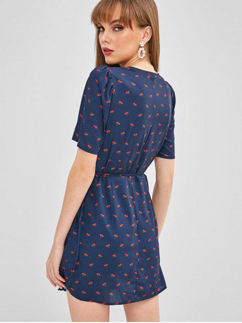 shop Plunging Cherry Button Up Dress - DEEP BLUE M Mobile