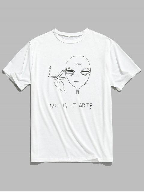 women's Short Sleeve Funny Pattern T-shirt - WHITE 2XL Mobile