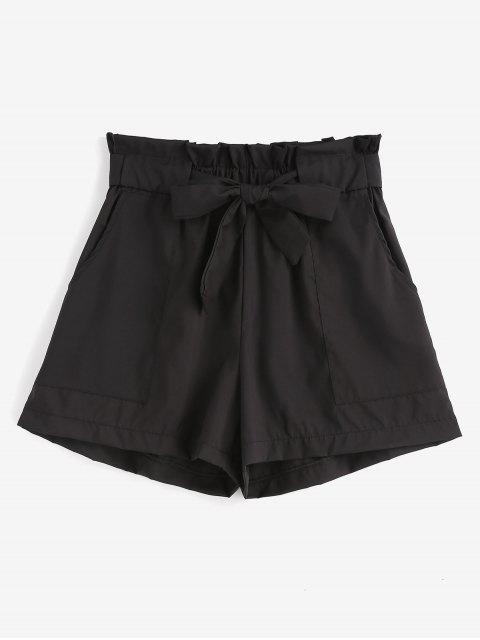 outfit Ruffles Belted Wide Leg Shorts - BLACK S Mobile