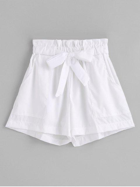 trendy Ruffles Belted Wide Leg Shorts - WHITE S Mobile