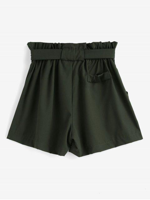 fancy Ruffles Belted Wide Leg Shorts - ARMY GREEN L Mobile