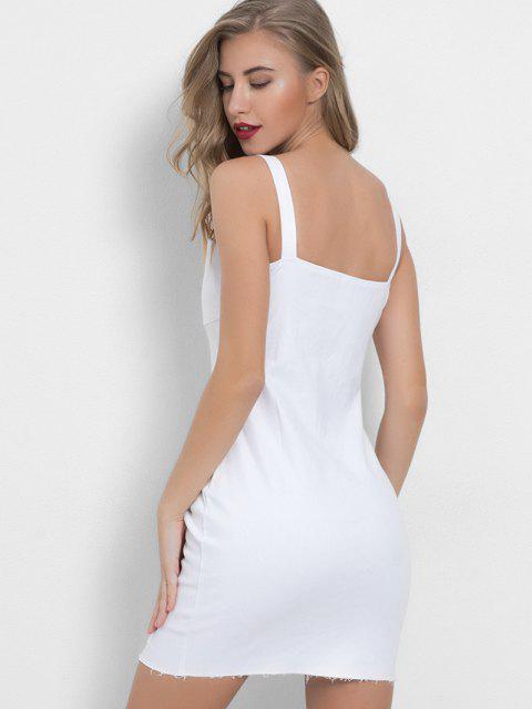 lady Hook and Eye Bodycon Mini Denim Party Dress - WHITE L Mobile