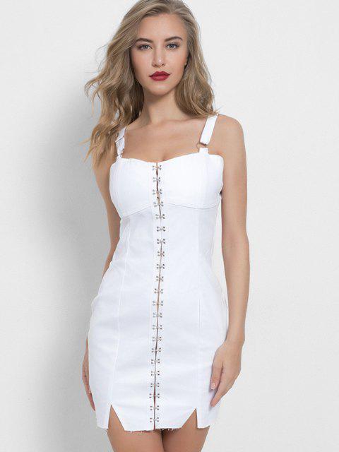 Mini Robe de Soirée Moulante Au Crochet en Denim - Blanc S Mobile