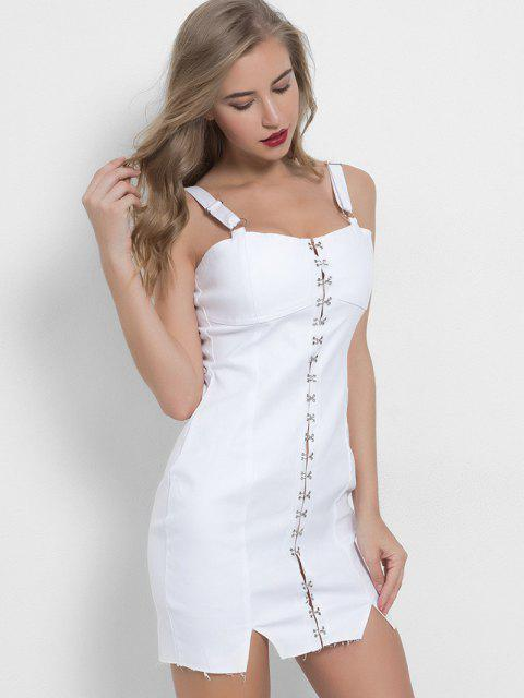 online Hook and Eye Bodycon Mini Denim Party Dress - WHITE S Mobile
