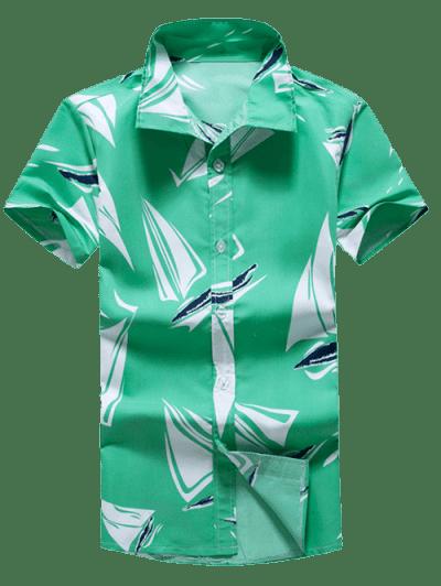 Short Sleeves Geometric Print Casual Shirt, Multi