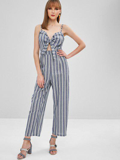 Striped Bunny Tie Cami Wide Leg Jumpsuit - Multi M