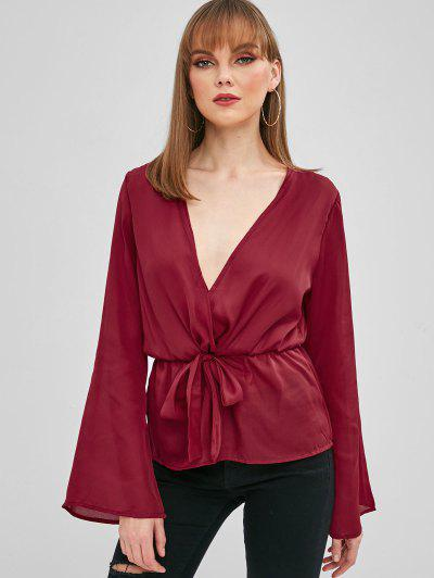 d8999b4af1a Bell Sleeve Crossover Tie Waist Peplum Top - Red Wine S ...