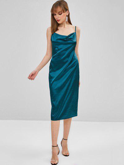fc5e8d6a88c5 Midi Satin Bodycon Cami Dress - Greenish Blue L
