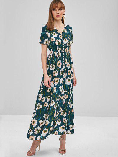 bbad3ffc8d2 ZAFUL Floral Print Button Up Maxi Tea Dress - Greenish Blue S