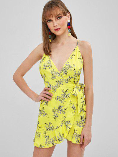 6d86b27d50 Ruffled Tied Floral Cami Dress - Yellow M ...