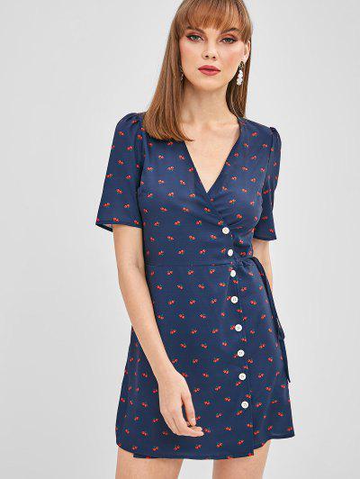2c9a9dedf6e Plunging Cherry Button Up Dress - Deep Blue M