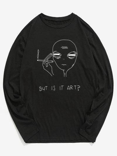 cfc14f2f94a896 Funny Graphic Printed Long Sleeve T-shirt - Black Xl ...
