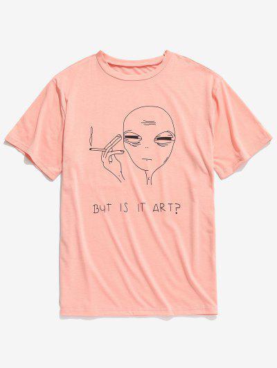 fba0f5338fcc49 Short Sleeve Funny Pattern T-shirt - Orange Pink Xl ...