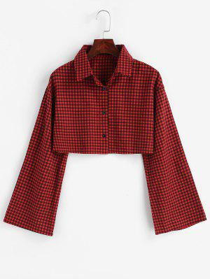6684f19be1df3 Gingham Bell Sleeve Cropped Shirt - نبيذ احمر M