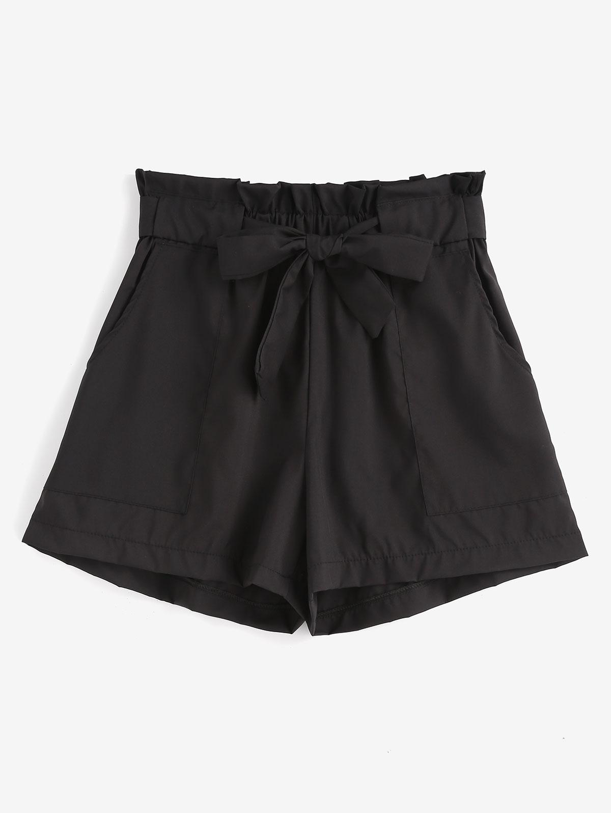 Ruffles Belted Wide Leg Shorts