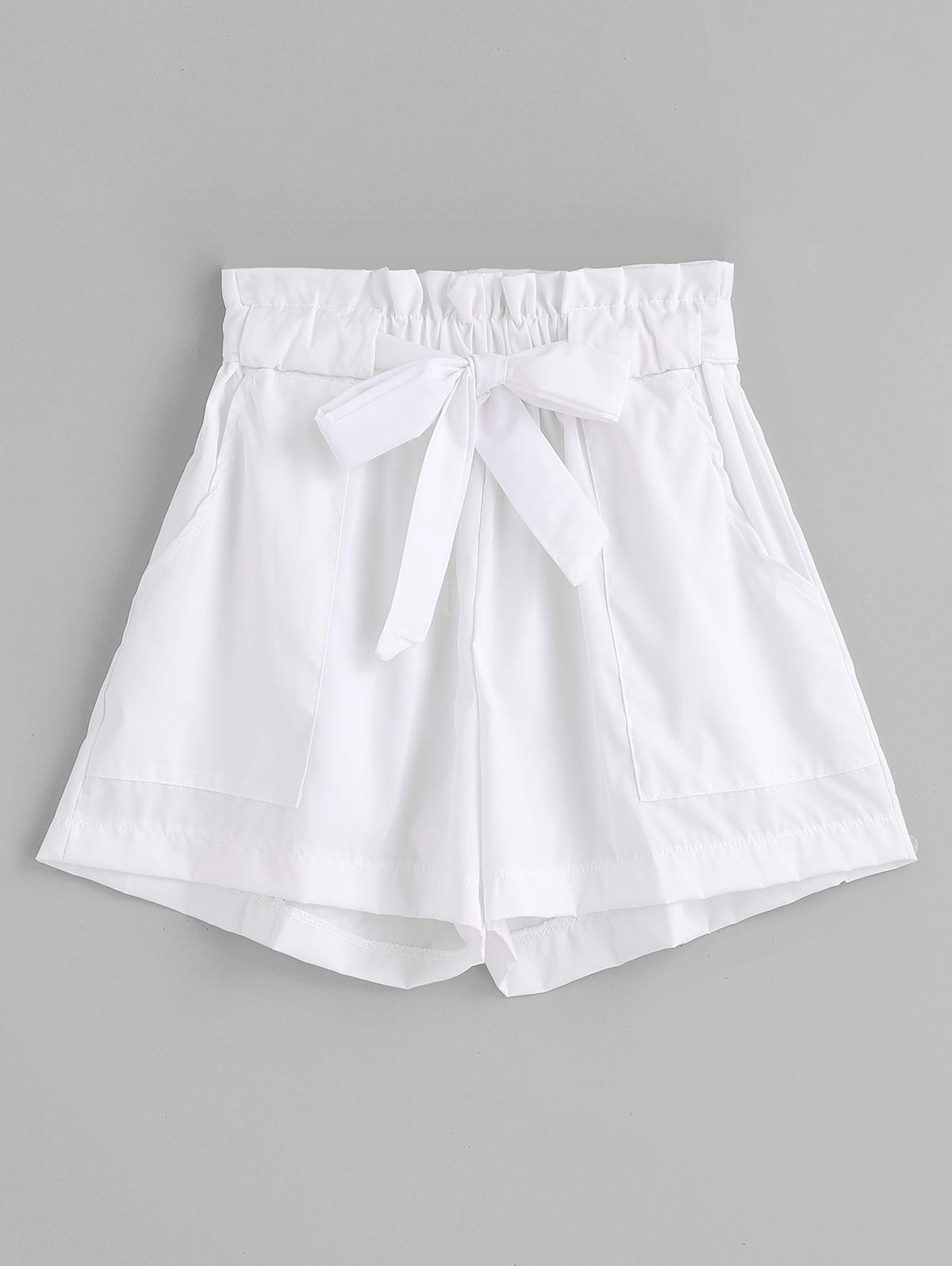 Ruffles Belted Wide Leg Shorts фото
