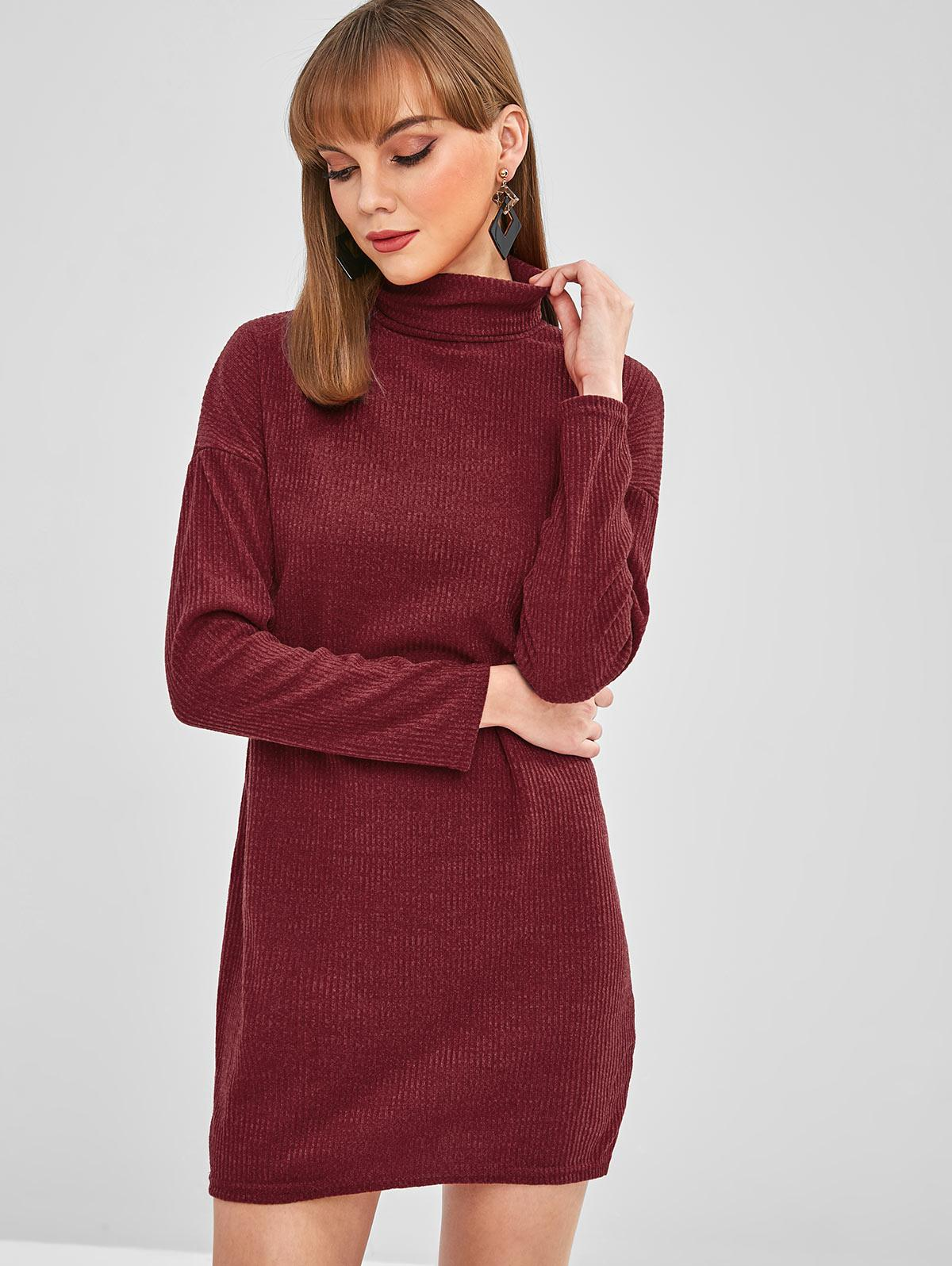 Drop Shoulder Turtleneck Ribbed Knit Dress
