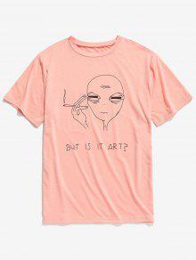 قصيرة الأكمام مضحك نمط القميص - برتقالي وردي 2xl