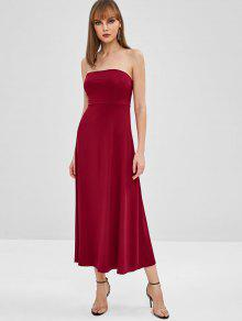 Lace Up Bandeau Midi Dress