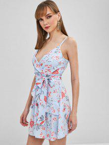 83cafdb1af4 40% OFF  2019 Ruffled Floral Short Cami Dress In LIGHT SKY BLUE