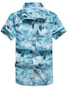 أشجار جوز الهند الزهور طباعة عادية اكمام قصيرة القميص - متعدد S
