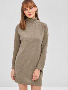 2b0c78155b54 36% OFF  2019 Drop Shoulder Turtleneck Ribbed Knit Dress In KHAKI ...