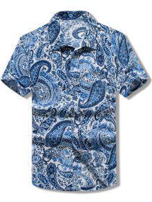 قميص بطبعات بيسلي كاجوال وبأكمام قصيرة - أزرق M