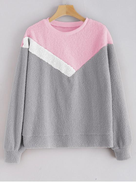 chic Color Block Teddy Sweatshirt - GRAY CLOUD XL