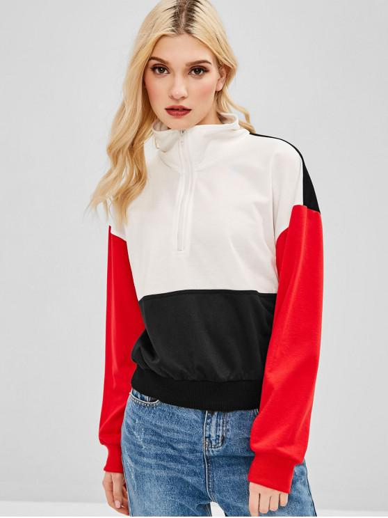 outfit ZAFUL Color Block Half Zipper Sweatshirt - MULTI S