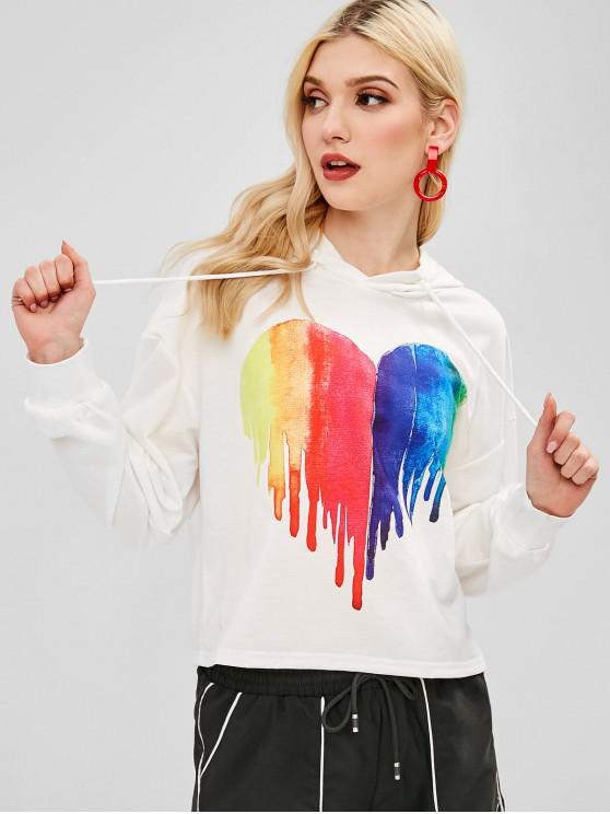 ZAFUL Heart Painting Graphic Hoodie - Blanco M