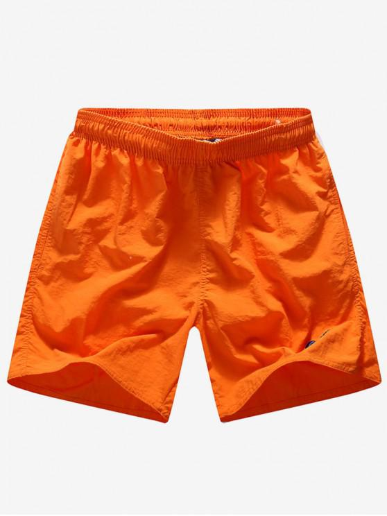 womens Solid Color Embroidery Letters Print Neon Board Shorts - ORANGE S
