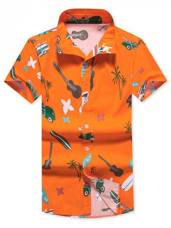 Blumen-Kokosnuss-Baum-Druck-Kurzarm-Strand-Shirt - Orange S