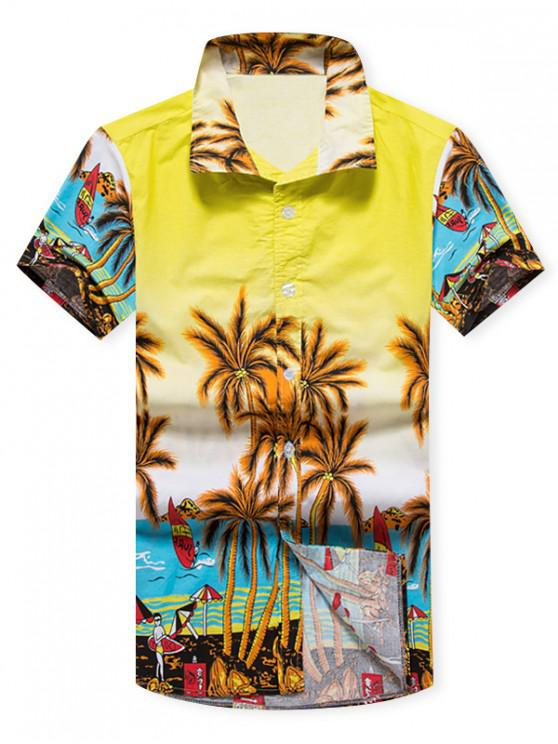 unique Coconut Trees Beach Scenery Print Casual Shirt - YELLOW M