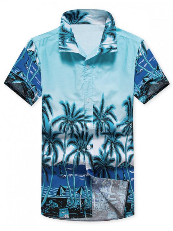 womens Coconut Trees Beach Scenery Print Casual Shirt - BLUE L