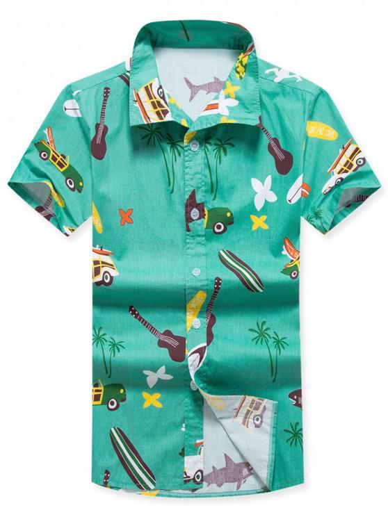 Blumen-Kokosnuss-Baum-Druck-Kurzarm-Strand-Shirt - Grün L