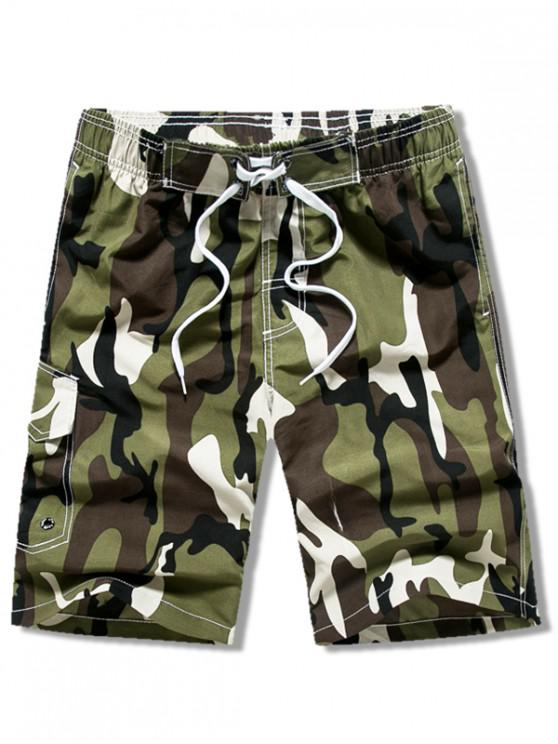 affordable Camouflage Print Drawstring Casual Shorts - ARMY GREEN XS